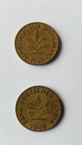 Die Rückseiten von 10 Pfennig Münzen von 1949 und 1950.